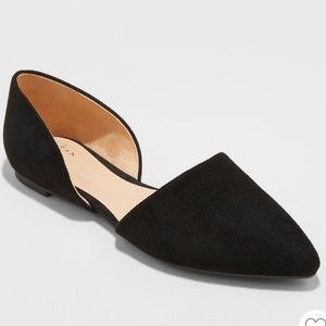 A new day black pointed ballerina flats suede